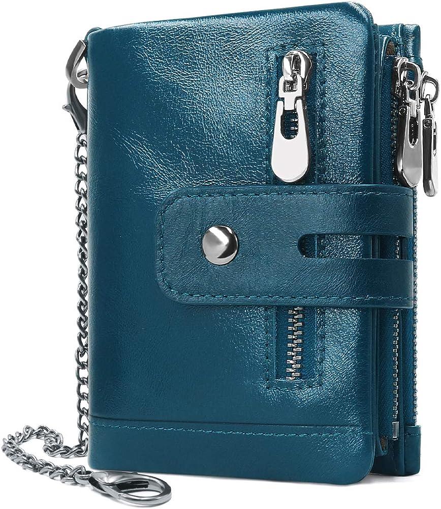 Reetee portafoglio, porta carte di credito, con catena, in vera pelle, blu