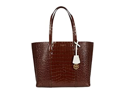 Tory Burch Perry Embossed Triple Compartment Tote (Caffeine) Handbags