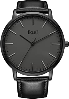 BOLISI Men's Watches Ultra-Thin Classic Analog Quartz Watch Imported Movement Wrist Watch with Date and Stainless Steel Band or Leather Strap