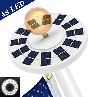 Bathonly 48 LED, Solar Flag Pole Light,Weatherproof Flagpole Light Downlight Lighting Night Light for 15 to 25 Ft Top,Auto On/Off Super-Bright Night Light Energy-Saving, Upgraded Version