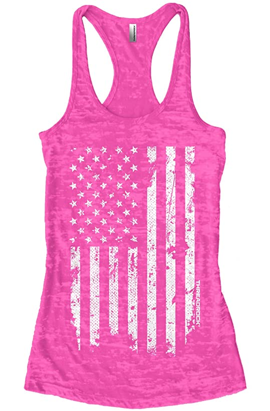 Threadrock Women's White Distressed American Flag Burnout Racerback Tank Top