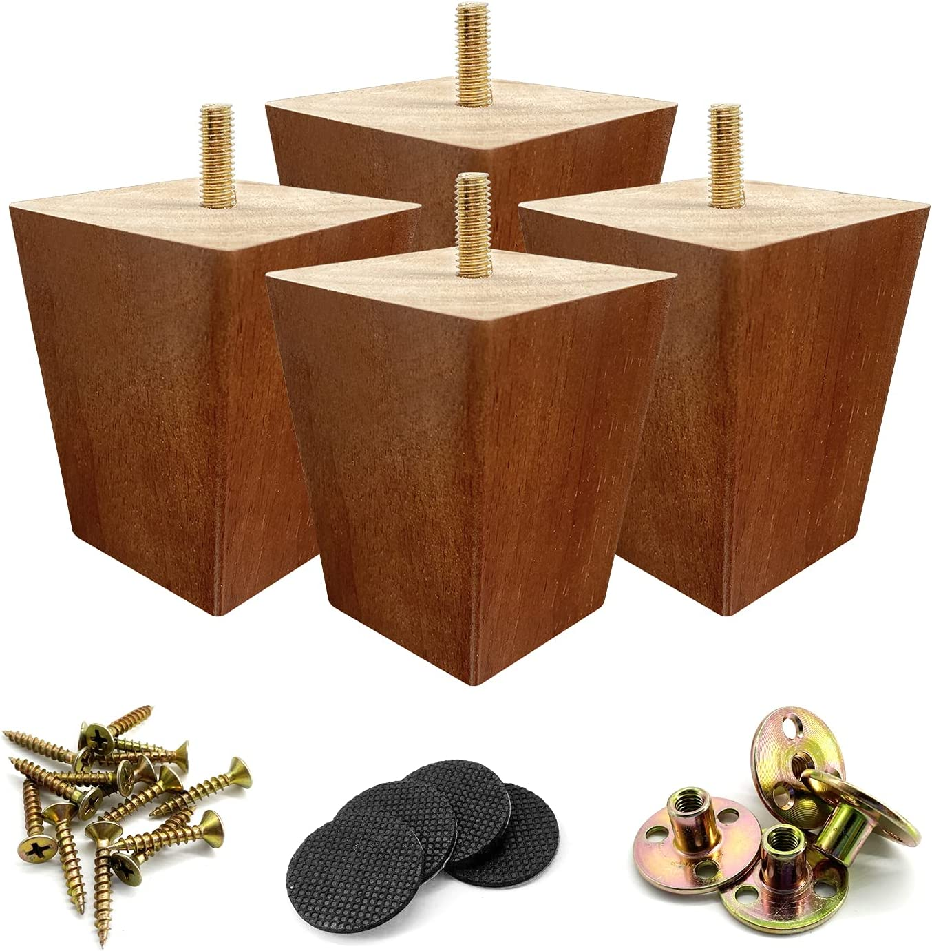 Kculehtlla Wood Furniture Legs 3 inch - Wooden Made Tapered Replacement Furniture Leg for Ottoman Accent Chair Dresser Pack of 4