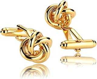 ANAZOZ Stainless Steel Customize Cufflinks for Men Shirt Cufflinks Wedding Gold Flower 1.5x1.5CM