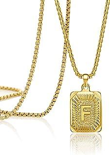 قلادة من الذهب 18 قيراط من JoycuFF مع الحرف الأول من الحرف F قلادة مربعة الشكل ميدالية مستطيلة الشكل مصنوعة يدويًا من الفو...
