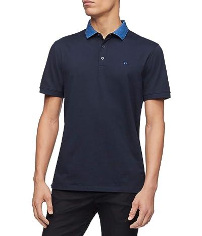 Calvin Klein Short Sleeve Liquid Touch Polo Shirt (Sky Captain Combo) Men