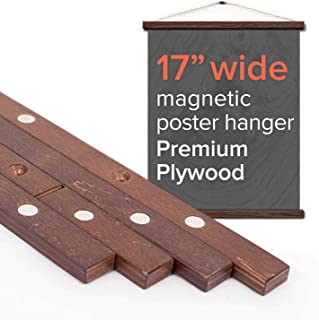 """Stiicks 17"""" Wide Magnetic Poster Frame Hanger in Walnut – Premium Plywood and Magnets Strong Enough to Hang Any Length"""