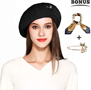 1b6d780d413 Jeicy Wool Beret Hat Solid Color French Artist Beret Skily Scarf Brooch