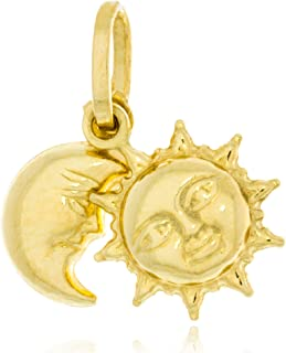 Solid Gold 14K Charm Dangle Pendant of Sun and Moon Made in Italy 14.5mm Tall by 15.8mm Wide | 1.2g