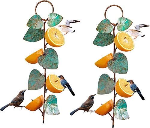wholesale RiamxwR Oriole Orange Fruit Feeders Hummingbird Feeder for Outdoors Metal Hanging Fruit Bird discount Feeder Garden Wild Bird Feeder Hanging Branch Garden Yard Lawn Decoration, 2 Packs (Green high quality + Green) outlet sale