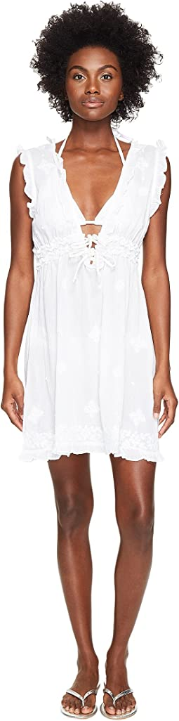 Letarte - Short Sleeve Embroidered Voile Cover-Up