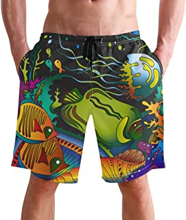 FFY Go Beach Shorts, Sealife Ocean Printed Mens Trunks Swim Short Quick Dry with Pockets for Summer Surfing Boardshorts Ou...