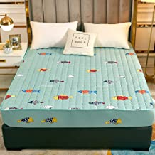 Deep Pocket Wrinkle,Polyester Quilted Printed Waterproof Bed Sheet,Double King Size for The Elderly and Children-Green_90x...