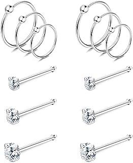 Milacolato 22G 925 Plata Piercing Nariz CZ Bolas de Nariz Anillas Anillos Labial Pendientes de cartílago Piercing Nariz Ar...