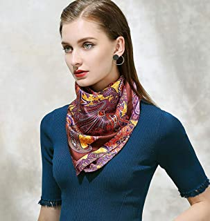 Women's Floral Painted Square Scarf Scarf Silk Satin Head Neck Shawl Silk Scarf 106 * 106cm,B