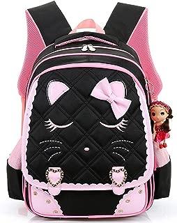 GLJ Children's Cute Student Bag Shoulder Reduction Shoulder Bag Backpack (Color : Black, Size : L)