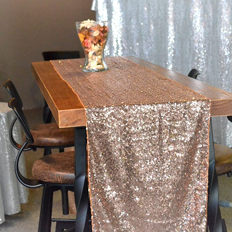 12 X 108 Premium Quality Luxury Sparkly Sequin Rose Gold Table Runner Covers Glitter Tablecloth Rectangle For Wedding Birthday Party Decorations Champagne Silver 12 Inches X 108 Inches Rose Gold