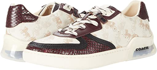 코치 씨티솔 코트 스니커즈 COACH CitySole Coated Canvas-Snake Court,Ivory/Wine