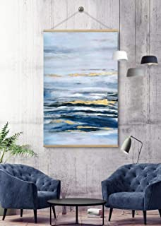 Beach Canvas Prints Wall Art for Home, Modern Blue Landscape Oil Paintings, 3D Hand Painted Ocean Art, Large Pictures for Living Room and Bedroom Beach Canvas Art Framed Ready to Hang 32x48Inch