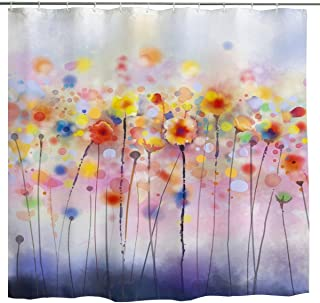 BROSHAN Watercolor Flower Shower Curtain, Modern Colorful Floral Art Bath Curtain Abstract Design, Nature Waterproof Fabric Bathroom Decor Set with Hooks, Yellow Pink, 72 inch Long