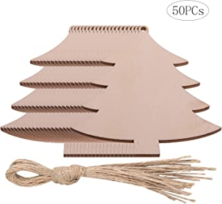 50PCs Wooden Crafts Christmas Tree Slices Xmas Ornaments DIY Holiday Decorations Unfinished Wood Pieces (Style - 50PCs Tree)