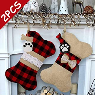 AerWo 2 Pcs Pet Dog Christmas Stockings, Buffalo Plaid Large Bone Shape Pets Stockings for Dogs Christmas Decorations.