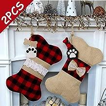 AerWo 2 Pcs Pet Dog Christmas Stockings, Buffalo Plaid Large Bone Shape Pets Stockings for Dogs Christmas Decorations