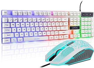Gaming LED Backlit Keyboard and Mouse Combo with Emitting Character Adjustable LED Backlight 3200DPI USB Mouse Multimedia Keys Mechanical Feeling for PC Resberry Pi Mac TOB Box (White)