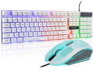 Gaming LED Backlit Keyboard and Mouse Combo with Emitting Character Adjustable LED Backlight 3200DPI USB Mouse Multimedia ...