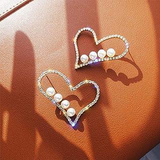 YERTTER Elegant 925 Tiny Pearl Heart Earrings Iced Out Earrings Ear Studs Rhinestones Crystal Ear Stud Ear Jewelry for Par...