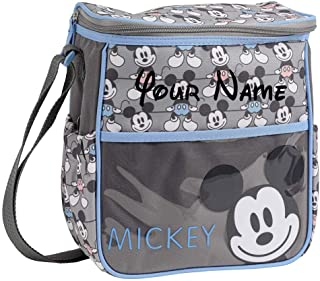 Personalized Disney Mickey Mouse Blue and Pink Smiling Mickey Print Small Baby Duffel Diaper Bag with Custom Name