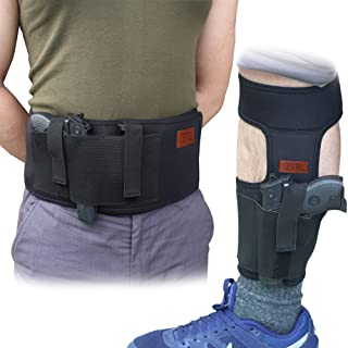 CREATRILL Bundle of Belly Band Holster + Ankle Holster for Concealed Carry, Neoprene Hand Gun Waist Band | Non Slip Ankle Pistol Holder with Calf Strap for Men Women
