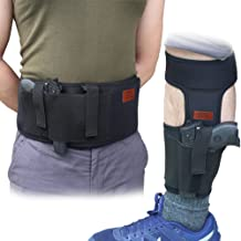 CREATRILL Bundle of Belly Band Holster + Ankle Holster for Concealed Carry, Neoprene Hand..