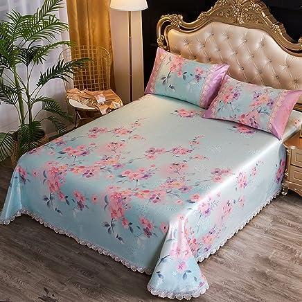 南极人 可水洗冰丝凉席三件套印花蕾丝花边床单式冰丝软席子可折叠 迷迭香 2.0m(6.6英尺)床