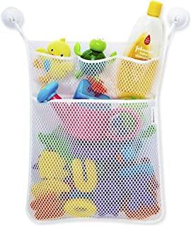 KINDOYO Bath Tub Toy Mesh Bag Tidy Suction Net Mesh Storage Bag Baby Bath Organiser - White