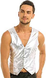 ACSUSS Men's PVC Leather Vest MC Hammer Rapper Pop 80s Rap Old School Costume