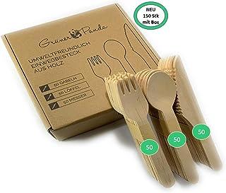 Gruener Panda 150 x Cuchillos, Tenedores y cucharas estables de Madera| Ecológico y compostable | Cuberteria desechable | Vajilla desechable