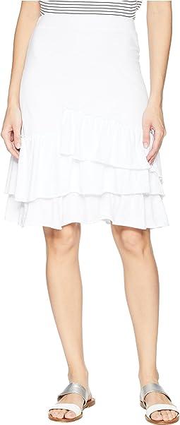 Slub Jersey Tiered Asymmetrical Ruffle Skirt