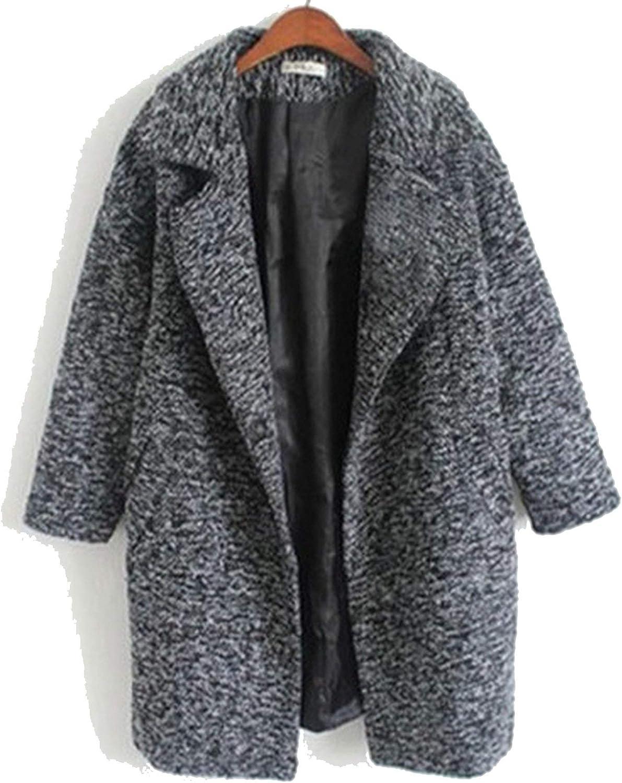 2018 Fashion Women Autumn and Winter Grey Woolen Coat