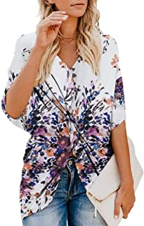 Yeirui Womens Knot Twist Front Casual Floral Print V Neck Tops Blouse T-Shirt