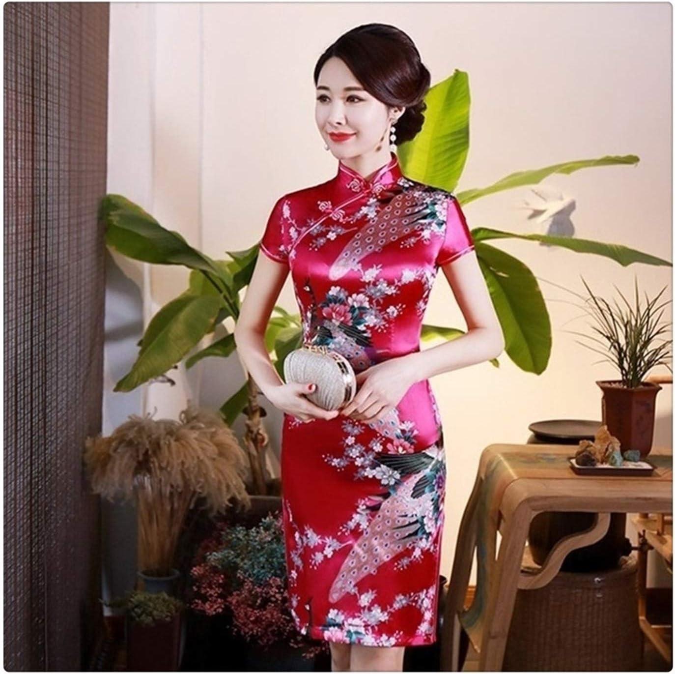 XIAOXINGXING Chinese Women's Silk Rayou Halter Cheongsam Mini Qi