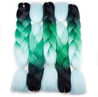 Forevery Braiding Hair Synthetic Kanekalon Ombre Hair Braiding Extensions 5Pcs High Temperature Fiber Crochet Twist Jumbo Braids Black to Green to Light Green (24