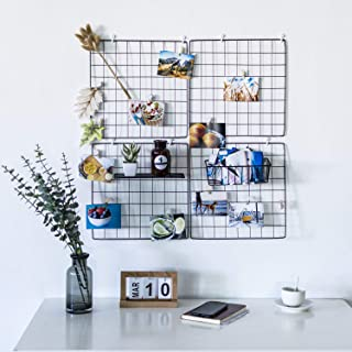devesanter DS Grid Photo Wall Wire Grid Panel Picture Display Iron Decorative Rack Photograph Wall Ins Display Photo Wall 14x14 Inches Set of 4 (Black)