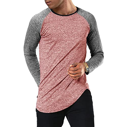 142c796e Moomphya Men's Long Sleeve Raglan Jersey Shirt Hipster Hip Hop Basic Swag  Curved Hem Baseball T