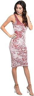 Imaginary Diva Women's Sexy Pink Soft Velvet Velour Fitted Stretch Tank Dress