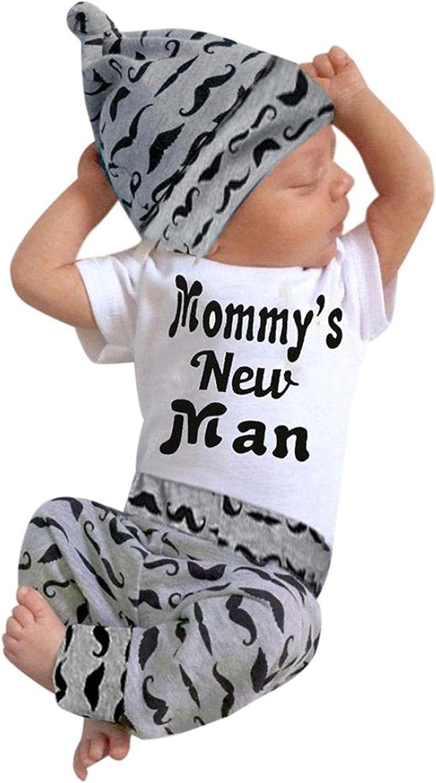 3Pcs Baby Boy Clothes Newborn Infant Bodysuit Summer Cotton Short Sleeve Romper +Pants+Hat Outfits Set