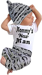 3Pcs Baby Boy Clothes Mommy's New Man Print Bodysuit...
