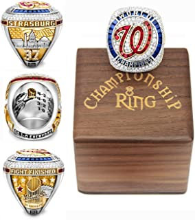 Ladies and Gentlemen, Your 2019 'Wa'shing'ton Wo'rld 'Ser'ies Replica 'Na'tionals Championship Ring Champions Rings with Deluxe Walnut Wooden Box Gifts for Youth Kids Mens Boys Women