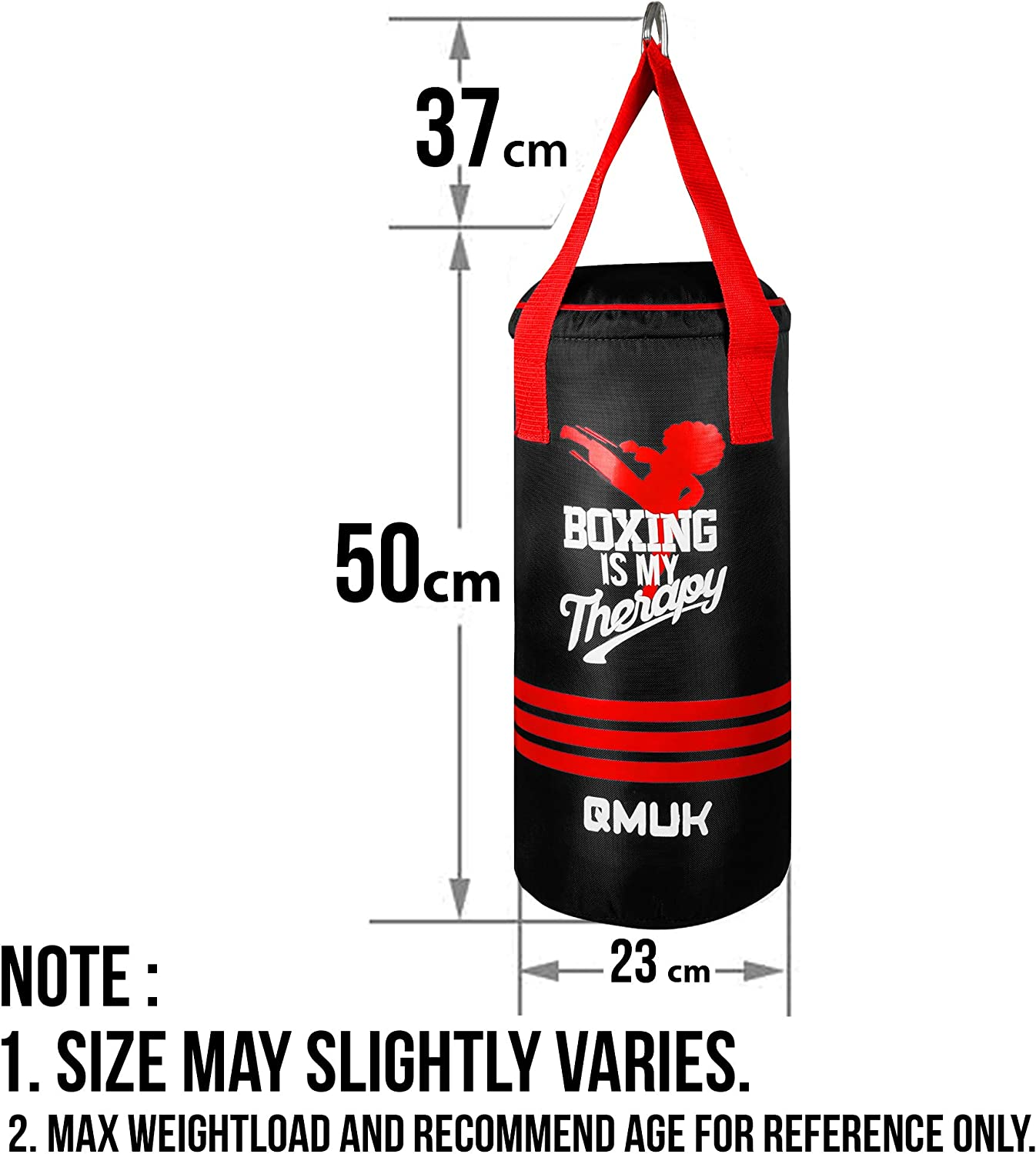 UNFILLED QMUK Kids Punching Boxing Bag with Free Gloves for Kickboxing MMA Punching Bag Training Muay Thai Sparring Karate Taekwondo Exercise and Fitness 50 cm