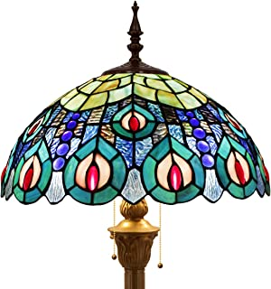 Tiffany Style Floor Standing Lamp 64 Inch Tall Sea Blue Stained Glass Shade Crystal Bead Peacock 2 Light Antique Base for Bedroom Living Room Reading Lighting Table Set S666 WERFACTORY