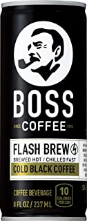 BOSS COFFEE by Suntory - Japanese Coffee Drink - Imported Coffee - Flash Brewed - Gluten Free, Sugar Free, Dairy Free, Keto, Vegan. (Original Black) (8 oz) (Pack of 12)